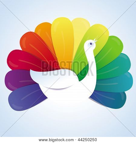 Vector Peackok Bird With Rainbow Feathers