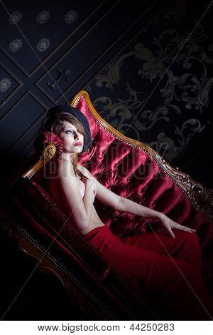 Stylish Shot Of Girl In The Sofa