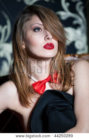 Sexy Girl With Deep Red Lips