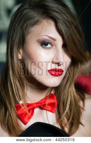 Close Up Portrait Of Sexy Girl With Red Lips