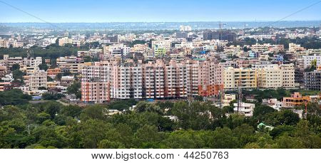 Panoramic view of Hyderabad city in India