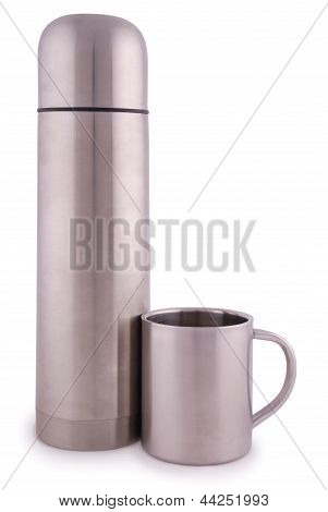 Metal Thermos And Thermocup (clipping Path)