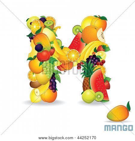 Vector Alphabet From Fruit. For Letter M Fruit is Mango.