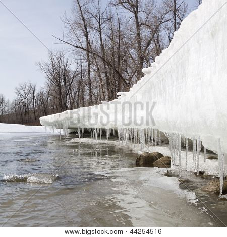 Degelo de Primavera, produzindo gelo ao longo do Rio