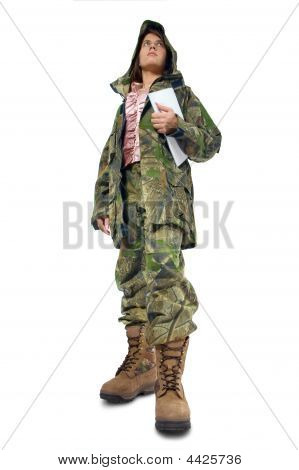 Woman In Camouflage