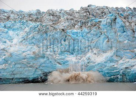 Calving Of Ice On A Glacial Face