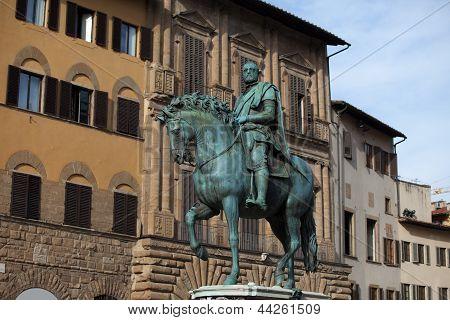 Florence - The equestrian statue of Cosimo I de Medici.