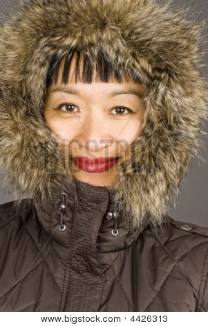 Asian Woman With Fur Hood