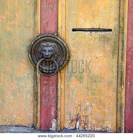 Old lion head door knob, Frymburk, Czech Republic.