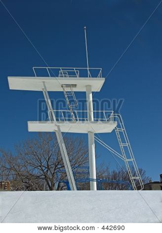 Diving Tower On Winters Day