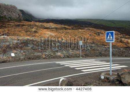 Pedestrian Crossing On Lava Flow