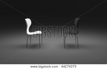Stylish Black And White  Chairs