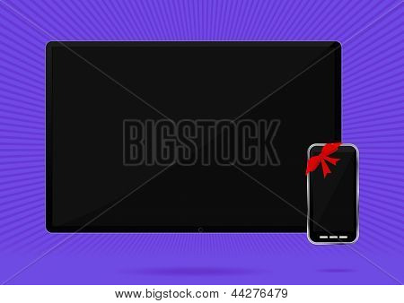 Lcd tv and smart phone with red bow