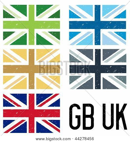 Set Of 5 Distressed Flags Of Great Britain