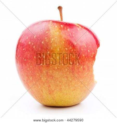 Bitten Juicy Red Apple Isolated On White