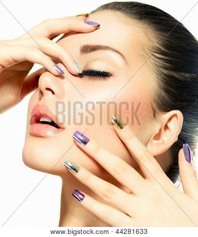 Beautiful Fashion Girl's Face. Makeup. Make-up and Manicure. Nail Polish. Beauty Skin and Nails. Beauty Salon