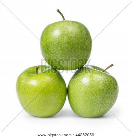 Three Fresh Green Granny Smith Apples