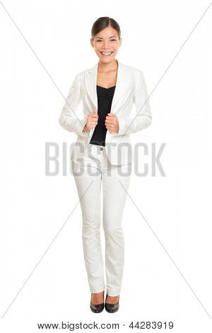 Business woman young professional standing in white suit smiling confident, happy and proud isolated on white background in full body length. Beautiful young female businesswoman. Multicultural Asian.