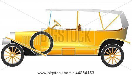 Vector Illustration Of Old Vintage Car.