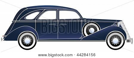 Vector Illustration Of Old Vintage Car.