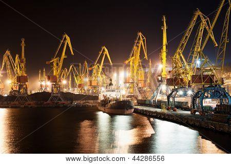 Port and ship at night