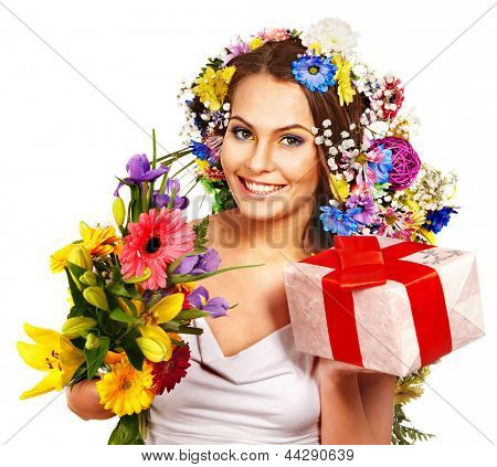Woman with gift box and flower bouquet . Isolated.