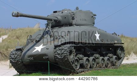 American tank on Normandy beach