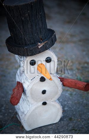 Decorative wooden snowman