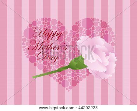 Mothers Day Pink Carnation Flower Illustration