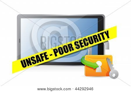 Unsafe Poor Security Technology Concept