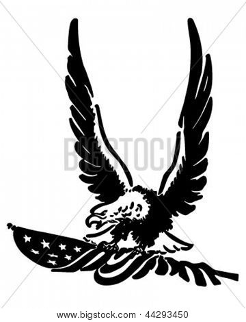 Defiant American Eagle - Retro Clip Art Illustration