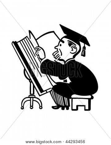 Grad Studying Big Book - Retro Clip Art Illustration