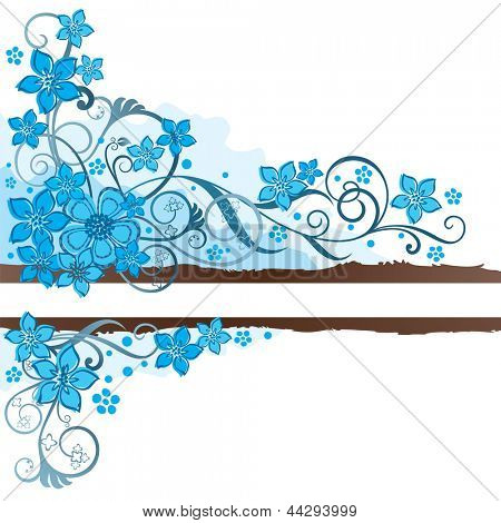 Brown grunge banner with turquoise flowers and swirls. This image is a vector illustration.