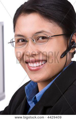 Smiling Customer Service (vertical Shoot)