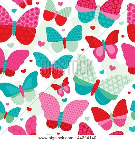 Seamless powder pastel tones butterfly flower patch work illustration background pattern in vector