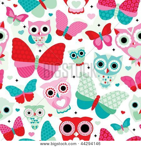 Seamless soft powder pastel butterfly and owl illustration background pattern in vector