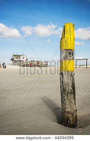 Look At Building Of Sandy Beach St. Peter-ording