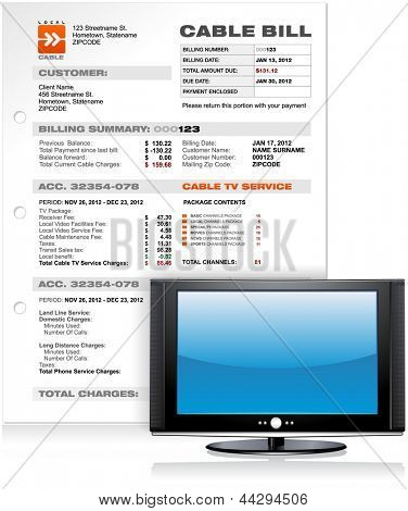Cable TV Service Bill with Flat Plasma LED LCD TV , Detailed Vector