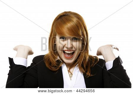 Happy Redhaired Laughing Business Woman