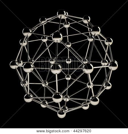 Sphere wireframe chrome structure isolated on black background.