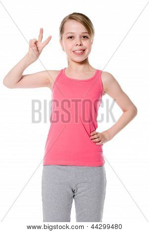 Beautiful Girl Giving Victory Sign