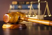 stock photo of court hammer  - Scales of justice - JPG
