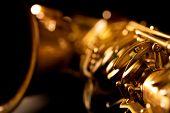 image of sax  - Tenor sax golden saxophone macro with selective focus on black - JPG