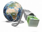 Make money online. Concept. Earth and internet cable with money. 3d Elements of this image furnished