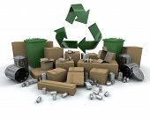 picture of recycling bin  - Recycling icon amongst lots of stuff to recycle - JPG