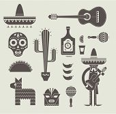 stock photo of sombrero  - Vecor illustration of various stylized icons for Mexico - JPG