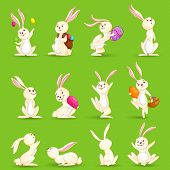 stock photo of juggling  - vector illustration of collection of Easter bunny - JPG