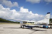 St Barth commuter aircraft ready to take off  at St Barths airport