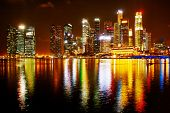 stock photo of singapore night  - Night panorama of Singapore downtown - JPG