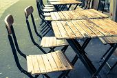 foto of banquet  - Street view of a coffee terrace with tables and chairs - JPG